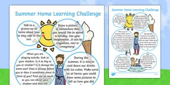 EYFS Summer Home Learning Challenge Sheet Nursery FS2 - eyfs, summer, home learning