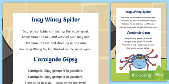 Comptine, version bilingue : Incy Wincy spider / L'araignée Gipsy - musique, music, comptine, rhyme, chanson, song, araignée, spider, pluie, rain, cycle 1, cycle 2, EY