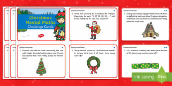 Year 2 Christmas Mental Maths Challenge Cards - Christmas, year 2, KS1, themed, maths, numeracy, mental maths, adding, subtracting, addition, subtra, christmaths