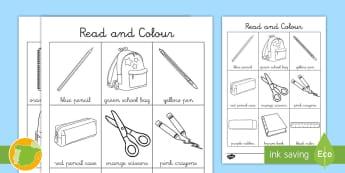 Lee y colorea: Objetos de la clase en inglés - Leer, Colorear, Read, Colour, Material, Escolar, Stationery, ESL, EFL