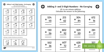 Add 3 and 2 Digit Numbers using Standard Written Form No Carrying Activity Sheet - no remainder, no remaining