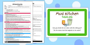 Tadpole Jelly EYFS Mud Kitchen Plan and Prompt Card Pack - mud