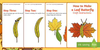 Leaf Butterfly Craft Instructions - autumn, collage, craft, Nature, Insect, leaves