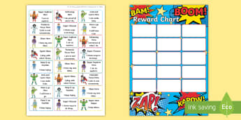 Superhero Themed Characteristics of Effective Learning Sticker Reward Chart - Superhero Themed Characteristics of Effective Learning Sticker Reward Chart - superhero, stickers, s