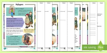KS1 Refugee Differentiated Reading Comprehension Activity - Refugee Week, Somalia, War, Natural Disaster, Asylum Seeker