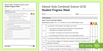 Edexcel Style Combined Science: Forces and Their Effects Progress Sheets  - contact forces, non contact forces, vector quantities, scalar quantities, lubrication