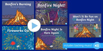 Bonfire Night Songs and Rhymes PowerPoints Pack - EYFS, Early Years, Key Stage 1, KS1, bonfire night, 5th November, fireworks night, rocket, sparkler,