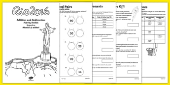 Year 2 Rio Olympics Addition and Subtraction Booklet Romanian Translation - 2016 Rio Olympics, maths, KS1, Year 2, challenges, problem, solve, reason, predict, word problem, add, addition, plus, total, altogether, sum of, greater than, more than, sub