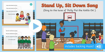 Stand Up Sit Down Song PowerPoint - stan, sit, up, down, early concepts, opposites