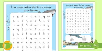 Sopa de letras: Los animales de los mares y océanos - animales, hábitats, donde viven, clasificación, grupos,Spanish