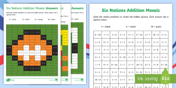KS1 Rugby Six Nations Addition and Subtraction Mosaics Differentiated Activity Sheets - Sport, Calculations, Solve, Rugby Union, Puzzle