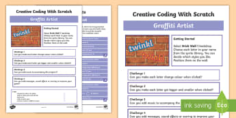 Graffiti Artist Scratch Activity Sheet - worksheet, computing, programming, coding, algorithms, instructions, commands, Scratch