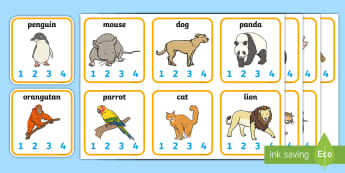 Animal Syllables Card Activity - animals, syllables, syllable card, animals card, card activities, syllable activities, card game, playing card, visual aid