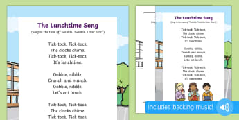 The Lunchtime Song - lunch, time of day, lunchtime, time vocabulary, clock, watch, tick tock