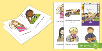 My Senses Emergent Reader - Senses, Sight, Sound, Smell, Taste, Touch, Emergent Readers, Guided Reading, Pre-K, Early Literacy,