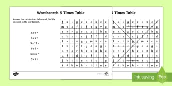 Multiplication 5 Times Tables Wordsearch Worksheet - multiplication wordsearch, times tables wordsearch, maths wordsearch, 5 times table wordsearch, sums