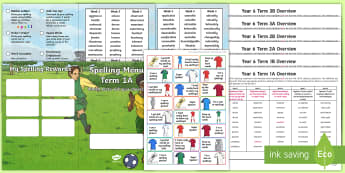 Year 6 Football Themed Spelling Menu Pack -  spag, gps, home learning, weekly, lists, test, spelling rule, spelling pattern
