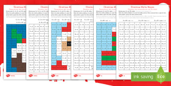 Christmas Multiplication Mosaic Activity Sheets US English/Spanish (Latin) - Christmas, Nativity, Jesus, xmas, Xmas, Father Christmas, Santa, St Nic, Saint Nicholas, traditions,