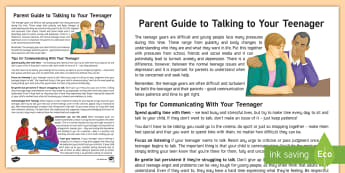 Good Communication Parent and Carer Information Sheet - talking, communicating, mental health, teenage, help, guide, parent, success, tips