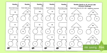 NNumber Bonds to 10 20 and 100 Ultimate Challenge Activity Sheet English/Polish - KS1, maths, numeracy, number bonds to 10, number bonds to 20, number bonds to 100, addition, adding