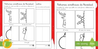 Fichas de actividad: Patrones simétricos de Navidad - simétrico, renos, ángel, copos de nieve, bolas, ejercicios navideños, materiales, material escola