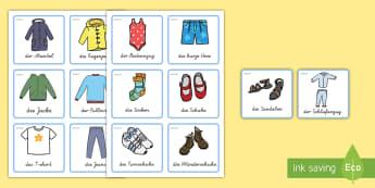 Kleidung Beschriftungsschilder - Kleidung, Beschriftungsschilder, Beschriftungsschilder für den Klassenraum, Beschriftungsschilder f