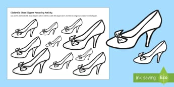 Cinderella's Slipper Measurement Activity Sheet - short, long, length, measure, size ordering, ks1, eyfs, cinderella