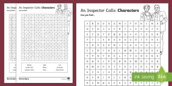 An Inspector Calls Character Word Search - An Inspector Calls, JB Priestley, characters, character study, character word search
