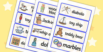 Toys from the Past Word Cards - Word cards, Toys, Word Card, flashcard, flashcards, Jack in the box, diabolo, jacks, pop gun, skittles, spinning top, marbles, pogo, doll