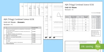 AQA Combined Science (Trilogy) Unit 6.6 Waves Test - KS4 Assessment, Test, Wave, Transverse, Longitudinal, Wavelength, Electromagnetic Spectrum, Ultravio