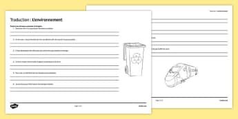 Traduction : L'environnement - french, environment, translation, worksheet