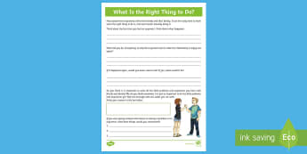 What Is the Right Thing To Do Activity Sheet - emotions, transition, behaviour, relationships, feelings, choices, PSHCE, morals, ethics, worksheet