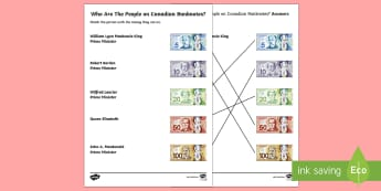 People on Canadian Banknotes Word and Picture Matching Worksheet / Activity Sheet - Uniquely Canadian, Canadian bank notes, Canadian bills, Canadian money, Math, Social Studies, Histor