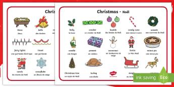 Christmas Word Mat English/French - Christmas, xmas, word mat, writing aid, tree, advent, nativity, santa, father christmas, Jesus, tree