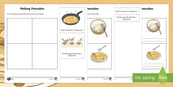 Pancake Recipe Instructions Differentiated Worksheet / Activity Sheets - pancakes, recipe, pancake making, instructions, pancake day,