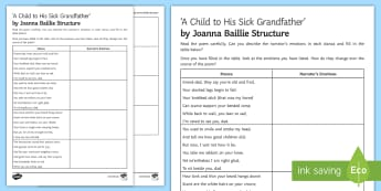 'A Child To His Sick Grandfather' by Joanna Baillie Structure Worksheet / Activity Sheet - Poetry analysis, poetry exploration, GCSE English Literature, GCSE Poetry, poetry anthology, Joanna