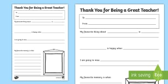 Thank You and Memories Teacher Gift Activity Sheet - end of year, thanks, present, parents, family, worksheet