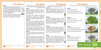 Little Acorns: The Seasons Differentiated Fact File - Twinkl originals, fiction, KS1, Year 1, Year 2, Reading, Science, Oak Tree, Autumn, Winter, Spring,
