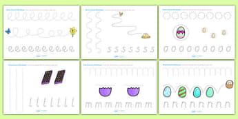 Easter Pencil Control Worksheets - easter, fine motor skills, RE