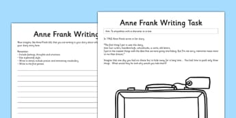 Anne Frank Writing Task - anne frank, world war 2, nazi, germany, jewish