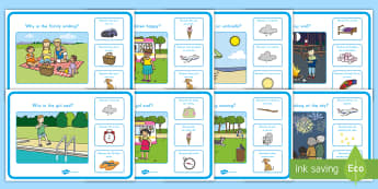 Summer Why and Because Scene and Question Cards - Summer, summer season, first day of summer, summer vacation, summertime, cause and effect, Pre-K
