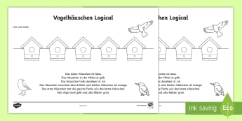 Vogelhäuschen Logical Arbeitsblatt: Lesen und Malen - Frühling, Vogel, Vogelhäuschen, Logical, spring, Bord, birdshouse, colour, anmalen, German