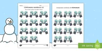 Compunerea numărului 10 pe mănuși Fișă de lucru - compuneri și descompuneri, matematică, adunări, adunare, matematica, Romanian