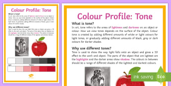 Colour Profile: Tone A4 Display Poster - Colour, tone, shade, description, uses,