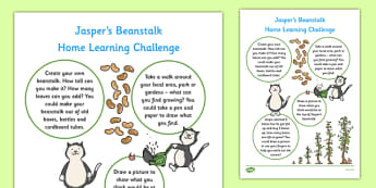 Home Learning Challenge Sheet Nursery FS1 to Support Teaching on Jasper's Beanstalk - EYFS planning, Early years activities, homework activities, growing