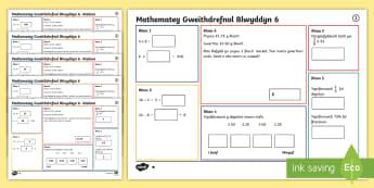 Matiau Mathemateg Gweithdrefnol Blwyddyn 6 Mat 1 - Procedural, matiau her, Matiau Her Mathemateg, Gwahaniaethol, Gweithredol, year 4, year 5, year 6, b