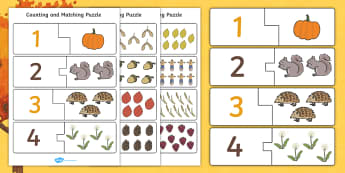 Autumn Counting Matching Puzzle - count, counting aid, games