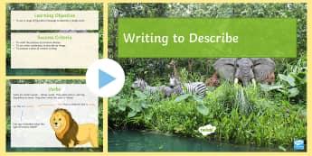 Descriptive Writing Cover Lesson Pack - descriptive writing, writing, creative writing, figurative language, verb, metaphor, sentences, word