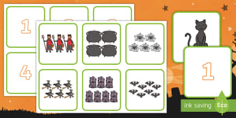 Halloween Themed 1-10 Number and Quantity Matching Cards - counting, Eary Maths skills, one to ten, oíche Shamhna, mathematics, numeracy