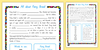 Fairy Bread Cloze Worksheet / Activity Sheet, worksheet